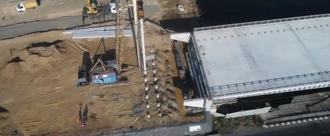 На строительстве моста через Сухой лиман завершена установка свай