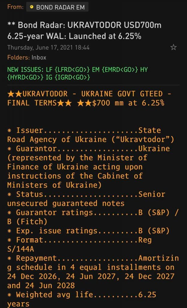«Укравтодор» впервые выпустил евробонды на Лондонской бирже
