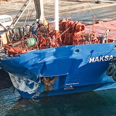 Пришедшее из Турции судно столкнулось с причалом в порту Черноморск